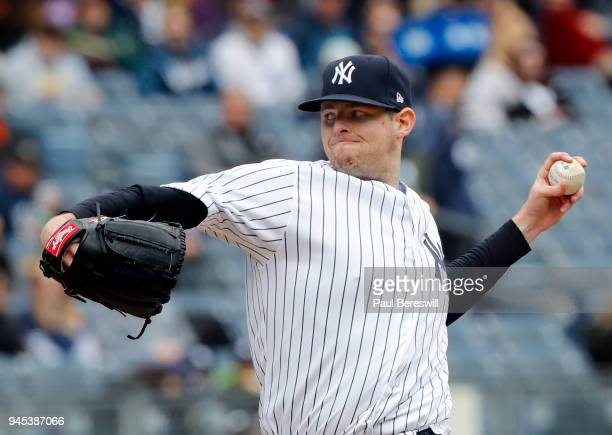 Pitcher Jordan Montgomery of the New York Yankees pitches in an MLB baseball game against the Baltimore Orioles on April 8 2018 at Yankee Stadium in...