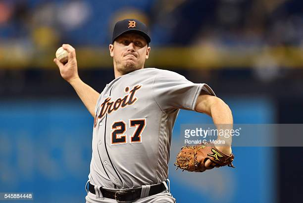 Pitcher Jordan Zimmermann of the Detroit Tigers pitches during a MLB game against the Tampa Bay Rays on July 1 2016 at Tropicana Field in St...