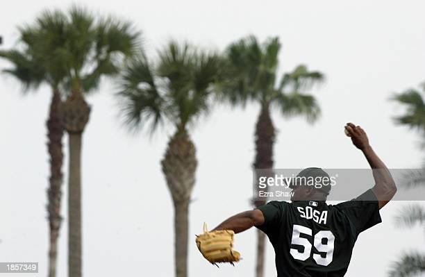 Pitcher Jorge Sosa of the Tampa Bay Devil Rays throws a pitch against the Toronto Blue Jays during the MLB spring training game at Progress Energy...