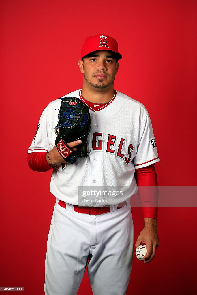 Pitcher Jose Alvarez #58 poses during Los Angeles Angels of Anaheim Photo Day on February 28, 2015 in Tempe, Arizona.
