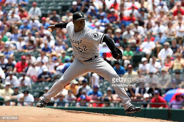 Pitcher Jose Contreras of the Chicago White Sox throws against the Texas Rangers in the first inning on July 13 2008 at Rangers Ballpark in Arlington...