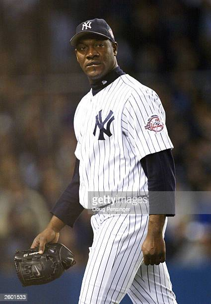 Pitcher Jose Contreras of the New York Yankees exits the game during the top of the seventh inning after giving up two runs to the Boston Red Sox...