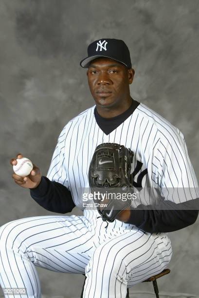 Pitcher Jose Contreras of the New York Yankees poses for a picture during Yankees Photo Day in Tampa Florida