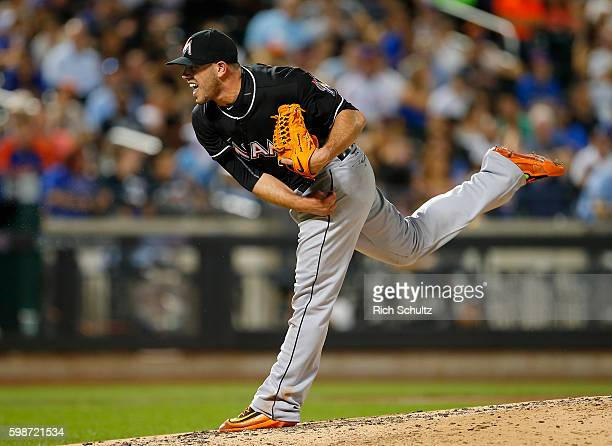 Pitcher Jose Fernandez of the Miami Marlins in action against the New York Mets during a game at Citi Field on August 29 2016 in the Flushing...