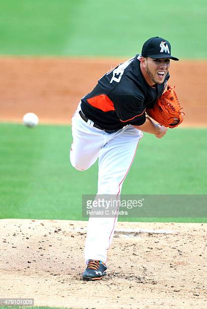 Pitcher Jose Fernandez of the Miami Marlins pitches against the Washington Nationals during a spring training game at Roger Dean Stadium on March 15...