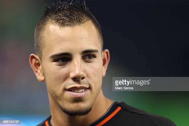 Pitcher Jose Fernandez of the Miami Marlins prior to his team playing against the Seatle Mariners at Marlins Park on April 19 2014 in Miami Florida...
