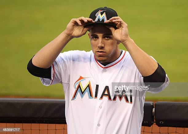 Pitcher Jose Fernandez of the Miami Marlins sits in the duggout at Marlins Park on April 2 2014 in Miami Florida The Rockies defeated the Marlins 64