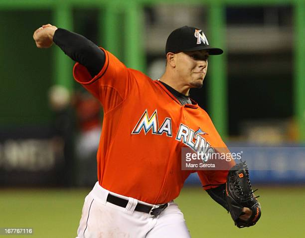 Pitcher Jose Fernandez of the Miami Marlins throws against the New York Mets in the first inning at Marlins Park on April 29 2013 in Miami Florida