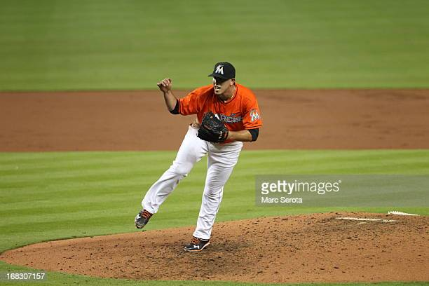 Pitcher Jose Fernandez of the Miami Marlins throws against the New York Mets at Marlins Park on April 29 2013 in Miami FloridaThe Marlins defeated...
