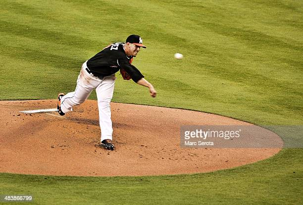 Pitcher Jose Fernandez of the Miami Marlins throws against the San Diego Padres at Marlins Park on April 5 2014 in Miami Florida The Marlins defeated...