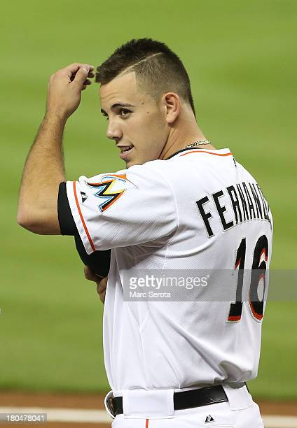 Pitcher Jose Fernandez of the Miami Marlins warms up before the game against the Washington Nationals at Marlins Park on September 7 2013 in Miami...