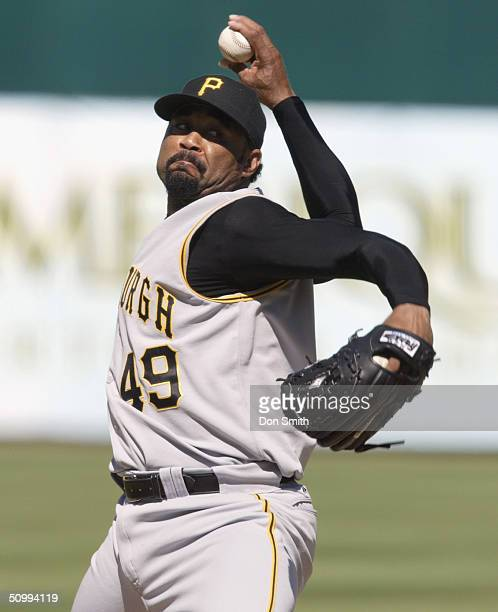 Pitcher Jose Mesa of the Pittsburgh Pirates delivers against the Oakland Athletics during the game at the Network Associates Coliseum on June 12 2004...
