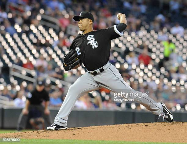Pitcher Jose Quintana of the Chicago White Sox delivers a pitch during the second inning against the Minnesota Twins at Target Field on September 1...
