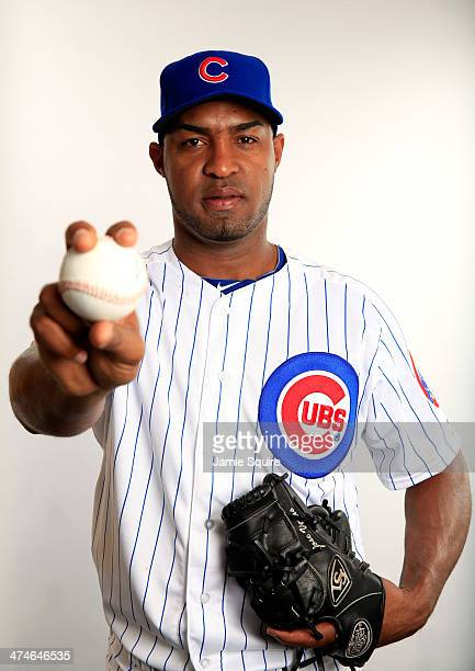 Pitcher Jose Veras poses during Chicago Cubs photo day on February 24 2014 in Tempe Arizona