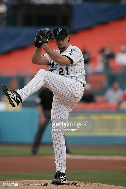 Pitcher Josh Beckett of the Florida Marlins delivers a pitch against the Houston Astros on May 20, 2004 at Pro Player Stadium in Miami, Florida. The...