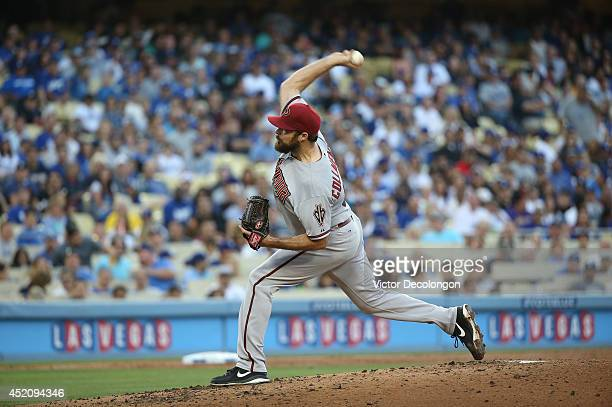 Pitcher Josh Collmenter of the Arizona Diamondbacks pitches in the third inning during the MLB game against the Los Angeles Dodgers at Dodger Stadium...