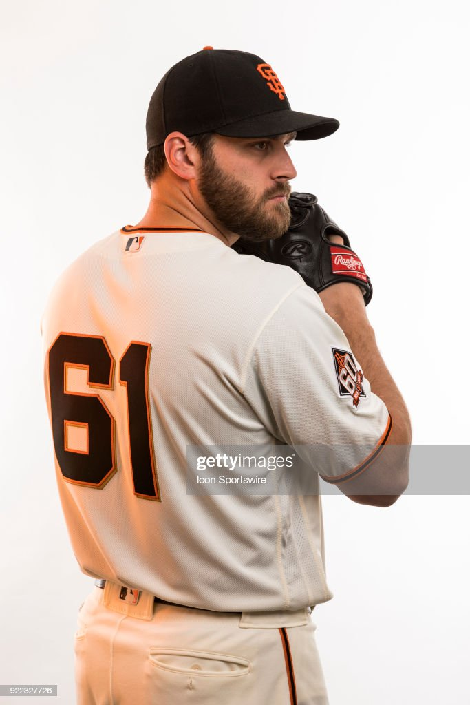 Pitcher Josh Osich (61) poses for a photo during the San Francisco Giants photo day on Tuesday, Feb. 20, 2018 at Scottsdale Stadium in Scottsdale, Ariz.