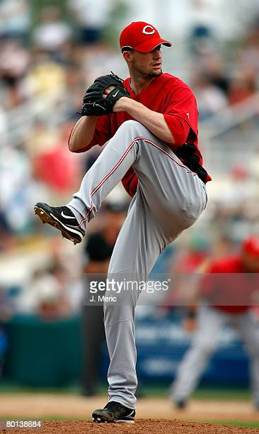 Pitcher Josh Roenicke of the Cincinnati Reds makes a pitch in ninth inning against the Boston Red Sox during the game on March 5 2008 at City of...