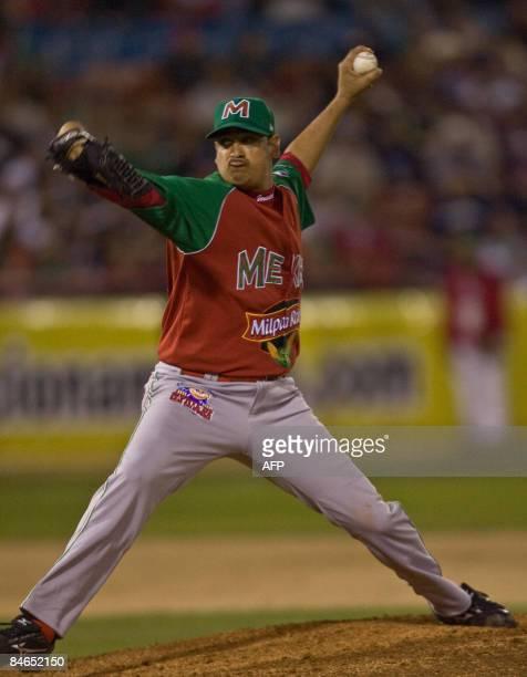 Pitcher Juan Peña of Venados de Mazatlan of Mexico pitches against the Tigres de Licey of the Dominican Republic during the Baseball Caribbean Series...