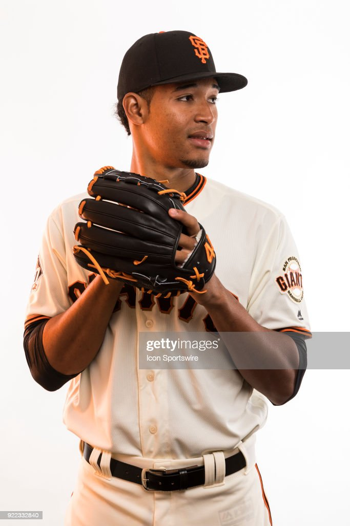 Pitcher Julian Fernandez (70) poses for a photo during the San Francisco Giants photo day on Tuesday, Feb. 20, 2018 at Scottsdale Stadium in Scottsdale, Ariz.