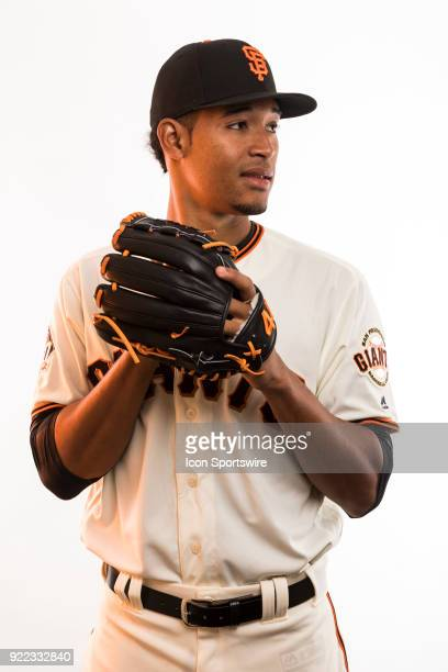 Pitcher Julian Fernandez poses for a photo during the San Francisco Giants photo day on Tuesday Feb 20 2018 at Scottsdale Stadium in Scottsdale Ariz