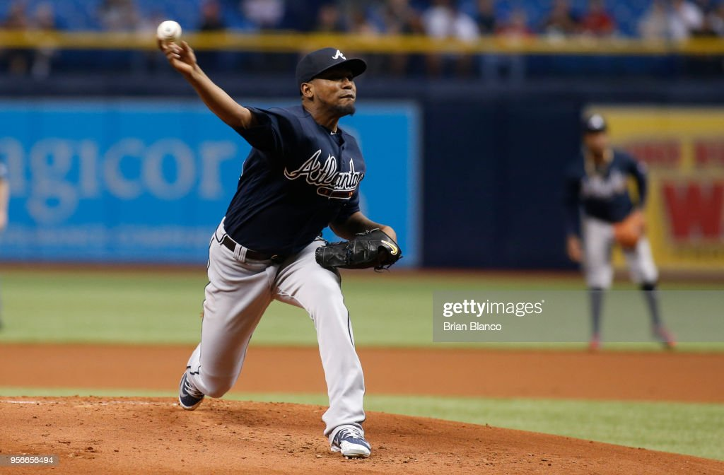 Pitcher Julio Teheran #49 of the Atlanta Braves pitches during the first inning of a game against the Tampa Bay Rays on May 9, 2018 at Tropicana Field in St. Petersburg, Florida.