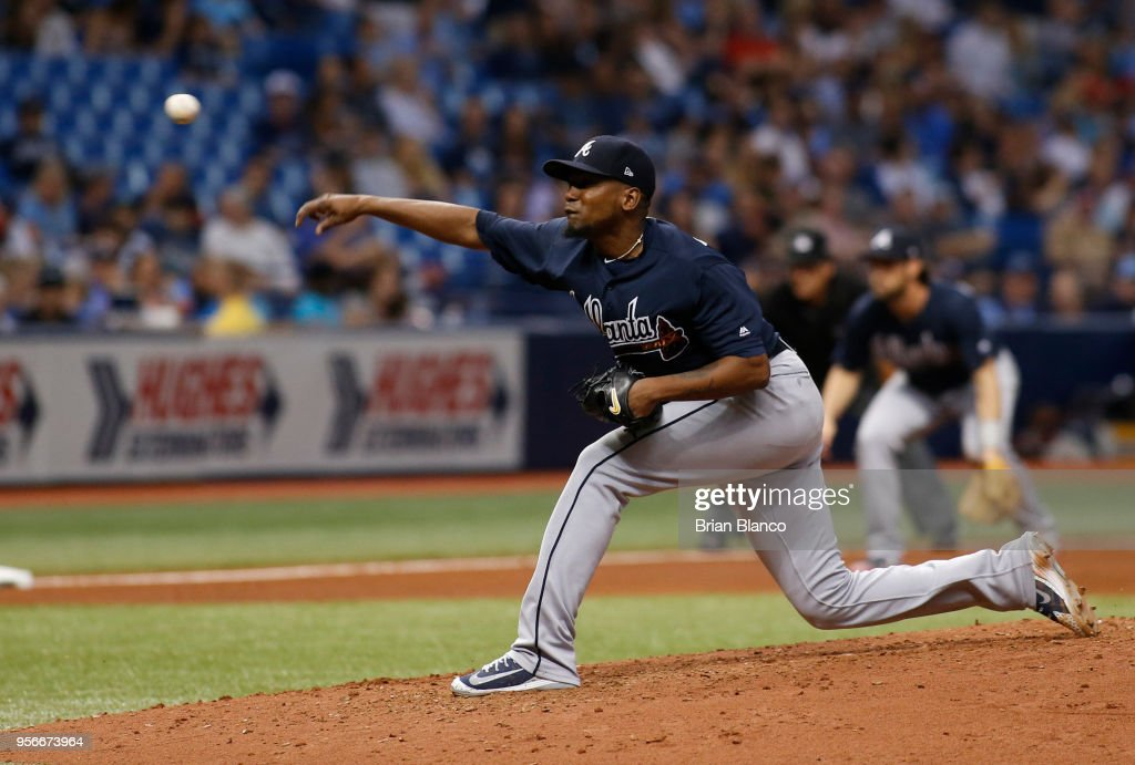 Pitcher Julio Teheran #49 of the Atlanta Braves pitches during the fourth inning of a game against the Tampa Bay Rays on May 9, 2018 at Tropicana Field in St. Petersburg, Florida.