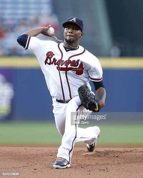 Pitcher Julio Teheran of the Atlanta Braves throws a pitch in the first inning during the game against the Boston Red Sox at Turner Field on April 25...