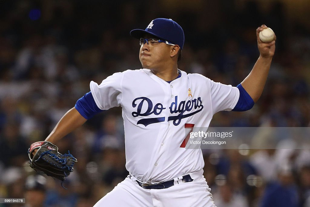 Pitcher Julio Urias #7 of the Los Angeles Dodgers pitches in the second inning during the MLB game against the San Diego Padres at Dodger Stadium on September 2, 2016 in Los Angeles, California. The Padres defeated the Dodgers 4-2.