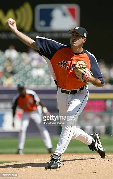 Pitcher Justin Verlander of Team USA delivers a pitch against the World Team during the 2005 Major League Baseball Futures Game at Comerica Park on...
