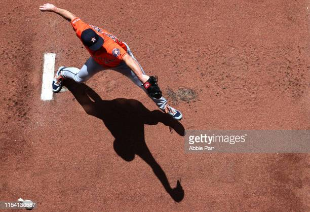 Pitcher Justin Verlander of the Houston Astros warms up prior to taking on the Seattle Mariners at T-Mobile Park on June 6, 2019 in Seattle,...