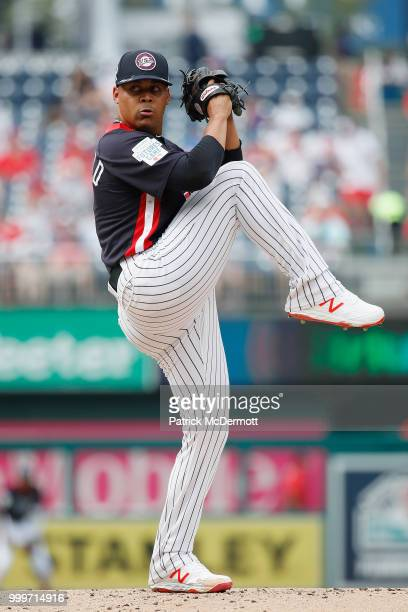 Pitcher Justus Sheffield of the New York Yankees and the US Team works the second inning against the World Team during the SiriusXM AllStar Futures...
