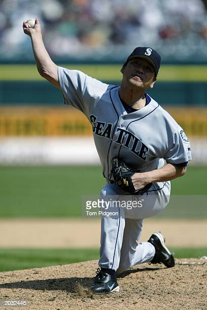 Pitcher Kazuhiro Sasaki of the Seattle Mariners delivers the pitch during the game against the Detroit Tigers at Comerica Park in Detroit Michigan...