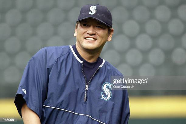 Pitcher Kazuhiro Sasaki of the Seattle Mariners looks on during warmups before the game against the Tampa Bay Devil Rays on August 26 2003 at Safeco...