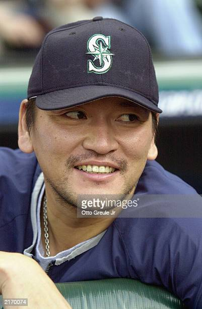 Pitcher Kazuhiro Sasaki of the Seattle Mariners watches the MLB game against the Baltimore Orioles at Safeco Field on July 8 2003 in Seattle...