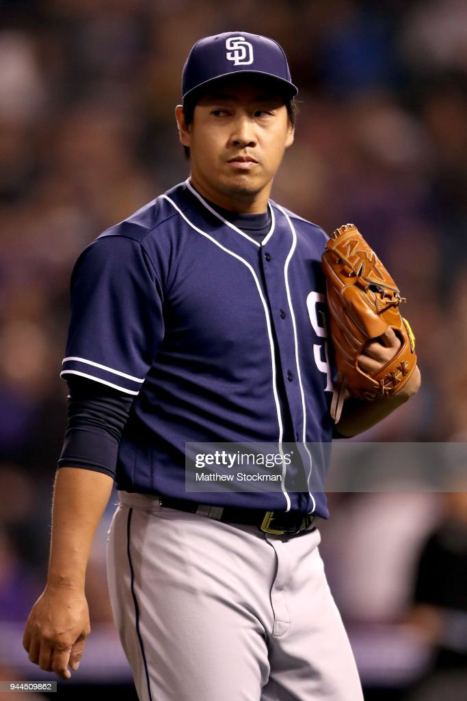 Pitcher Kazuhisa Makita #53 of the San Diego Padres walks to the dugout at the end of the seventh inning against the Colorado Rockies at Coors Field on April 10, 2018 in Denver, Colorado.