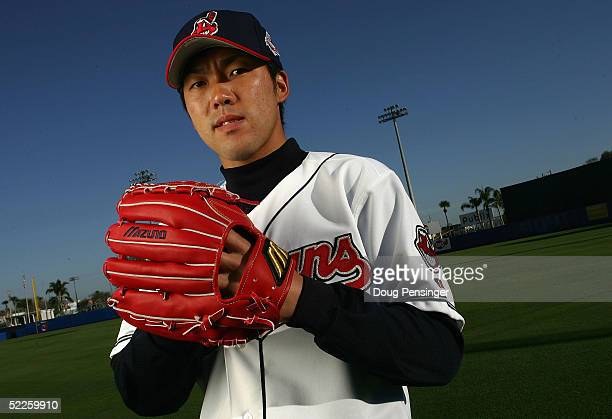 Pitcher Kazuhito Tadano of the Cleveland Indians poses for a photo day session during spring training at Chain of Lakes Park on March 1 2005 in...