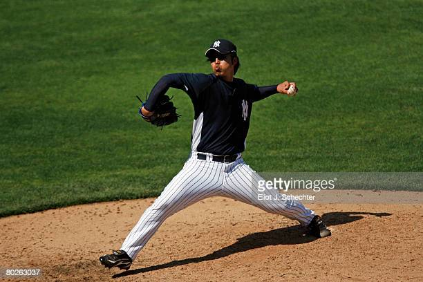Pitcher Kei Igawa of the New York Yankees delivers a pitch against the Tampa Bay Rays during a Spring Training game at Legends Field on March 15 2008...