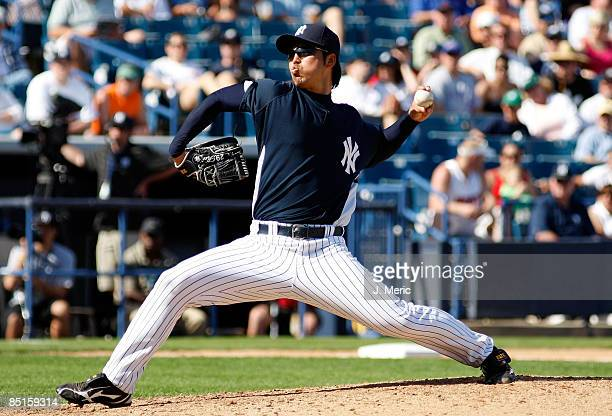 Pitcher Kei Igawa of the New York Yankees pitches against the Minnesota Twins during a Grapefruit League Spring Training Game at George M...