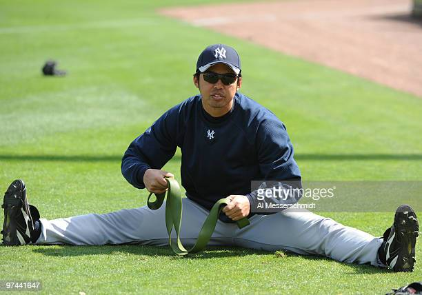 Pitcher Kei Igawa of the New York Yankees stretches during batting practice against the Philadelphia Phillies March 4 2010 at the Bright House Field...