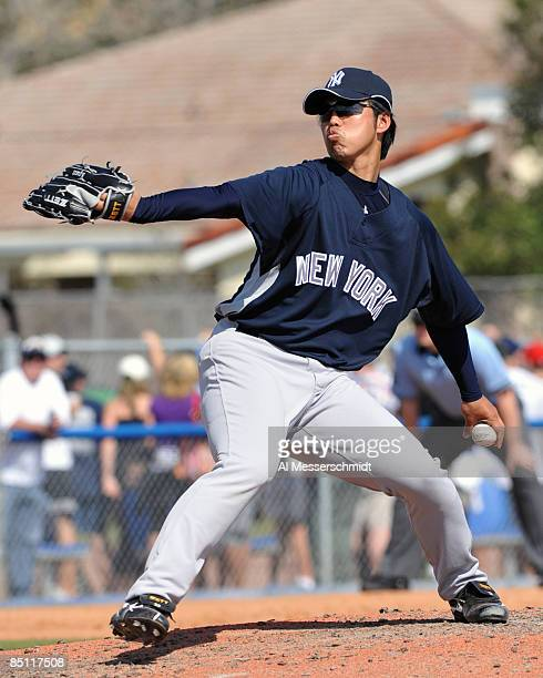 Pitcher Kei Igawa of the New York Yankees throws in relief against the Toronto Blue Jays February 25 2009 at Dunedin Stadium in Dunedin Florida