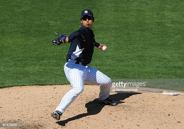 Pitcher Kei Igawa of the New York Yankees throws in relief against the Tampa Bay Rays March 5 2010 at the George M Steinbrenner Field in Tampa Florida