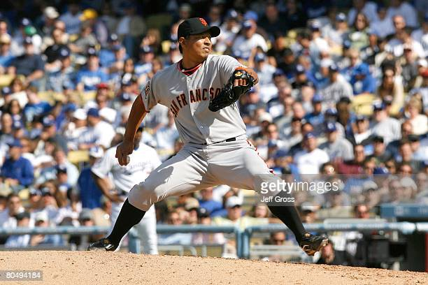 Pitcher Keiichi Yabu of the San Francisco Giants delivers a pitch during the Los Angeles Dodgers Opening Day game at Dodger Stadium on March 31 2008...