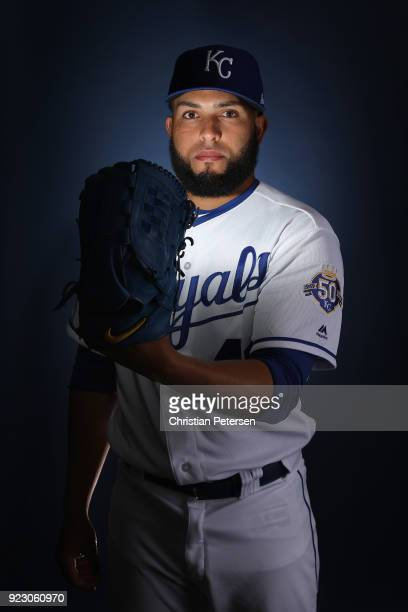 Pitcher Kelvin Herrera of the Kansas City Royals poses for a portrait during photo day at Surprise Stadium on February 22 2018 in Surprise Arizona