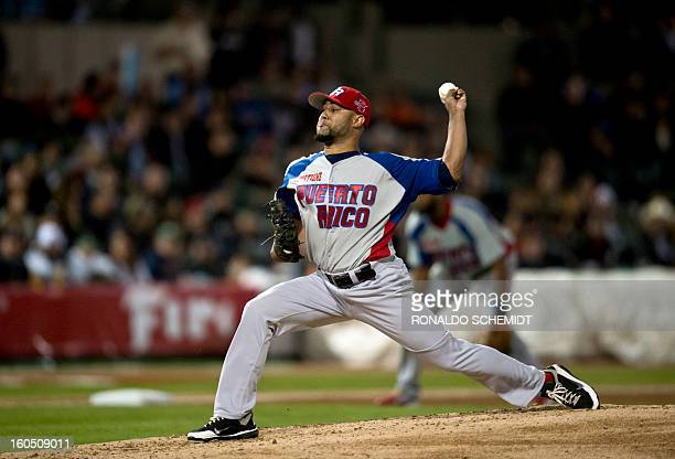 Pitcher Kelvin Villa of the Criollos de Caguas from Puerto Rico pitches against Yaquis de Obregon of Mexico at the Sonora Stadium during the 2013...