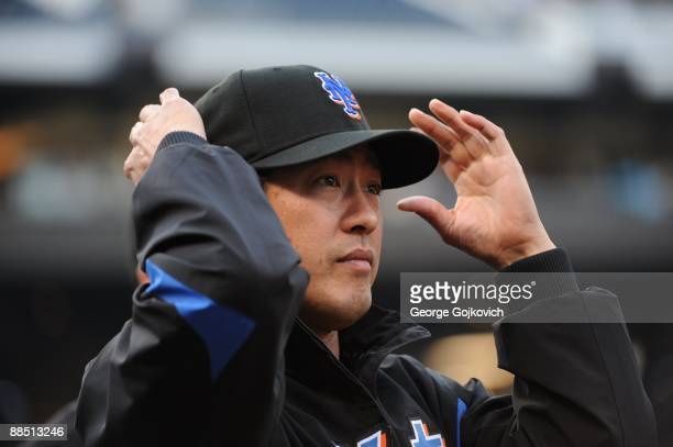 Pitcher Ken Takahashi of the New York Mets adjusts his cap before a game against the Pittsburgh Pirates at PNC Park on June 2 2009 in Pittsburgh...