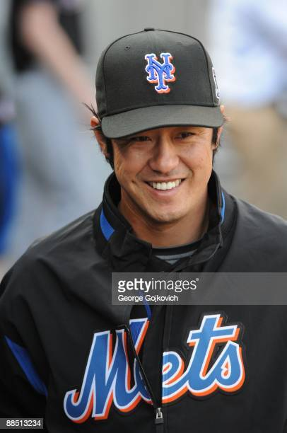 Pitcher Ken Takahashi of the New York Mets smiles while in the dugout before a game against the Pittsburgh Pirates at PNC Park on June 2 2009 in...