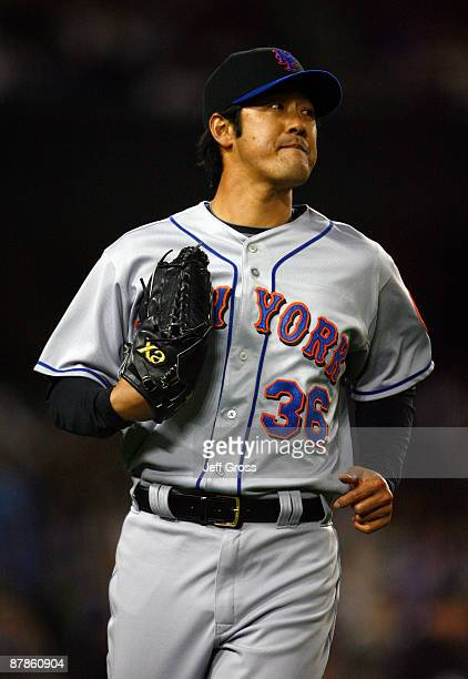 Pitcher Ken Takahashi of the New York Mets walks back to the dugout in the sixth inning against the Los Angeles Dodgers at Dodger Stadium on May 19...