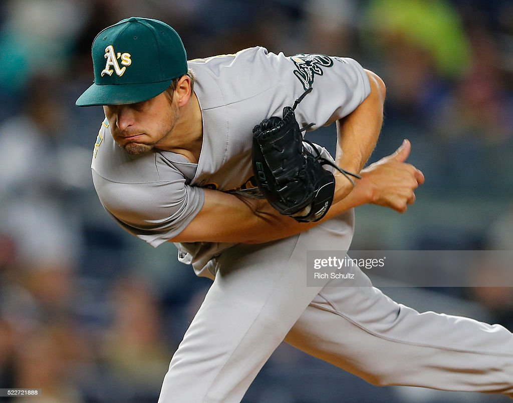 Pitcher Kendall Graveman #49 of the Oakland Athletics delivers a pitch during the third inning against the New York Yankees at Yankee Stadium on April 20, 2016 in the Bronx borough of New York City. The A's defeated the Yankees 5-2.