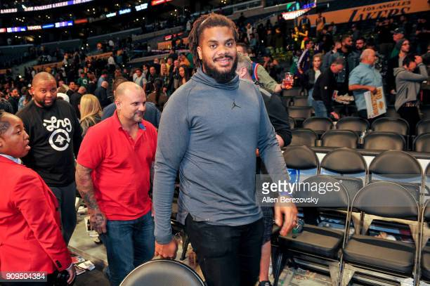 Pitcher Kenley Jansen attends a basketball game between the Los Angeles Lakers and the Boston Celtics at Staples Center on January 23 2018 in Los...
